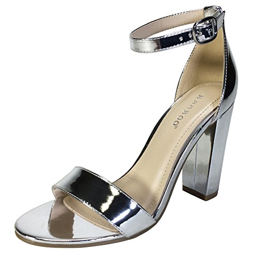 BAMBOO Women's Single Band Chunky Heel Sandal with Ankle Strap, Silver Patent PU, 6.5 B US