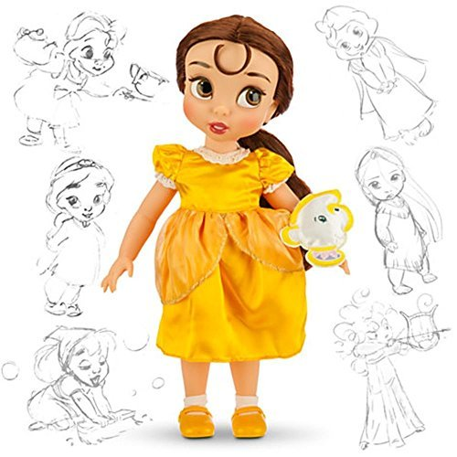 Disney Animators' Collection Belle Toddler Doll - 16'' with Plush Friend, Chip -
