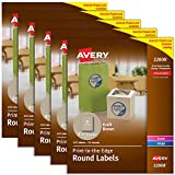 Avery Print-to-the-Edge Kraft Brown Round Labels , 2-1/2