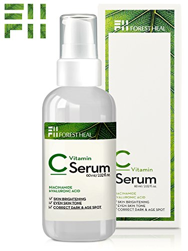 [Forest Heal] ​Anti Aging Vitamin C Serum for Face, Sun Damage Wrinkle Repair and Skin Tone Color Correct Facial Serum with ​Niacinamide,​ Hyaluronic Acid, Vitamin E B5 and D (60 - Skin Your Tone For Colors