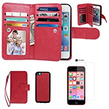 Case for iPhone 5C, xhorizon TM SR Premium Leather Folio Case[Wallet Function][Magnetic Detachable]Wristlet Purse Soft Flip Multiple Card Slots Case for iPhone 5C +1 PCS HD Screen Protector