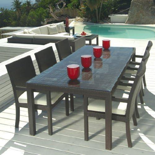 Muebles de jardín de mimbre exterior nueva resina 7 PC Juego de mesa de comedor con 6 sillas: Amazon.es: Jardín