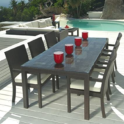 Outdoor Wicker Patio Furniture New Resin 9 Pc Dining Table Set with 8 Chairs - Amazon.com: Outdoor Wicker Patio Furniture New Resin 9 Pc Dining