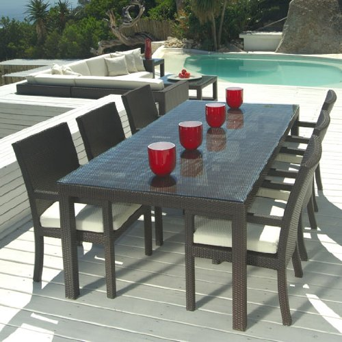 Amazoncom Outdoor Wicker Patio Furniture New Resin Pc Dining - Outdoor wood rectangular dining table