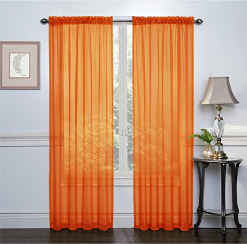 2 Pack: Ultra Luxurious High Thread Rod Pocket Sheer Voile Window Curtains by GoodGram - Assorted Colors (Pumpkin)