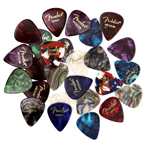 Fender Premium Picks Sampler - 24 Pack Includes Thin, Medium & Heavy Gauges (Austin Bazaar Exclusive)  (Best Guitar For Hard Rock)