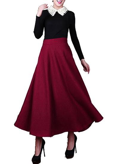 2c682b2e8ef84 Medeshe Women s Burgundy Red Wool Maxi Skirt Long Skirt Winter Bridesmaid  Skirt  Amazon.co.uk  Clothing