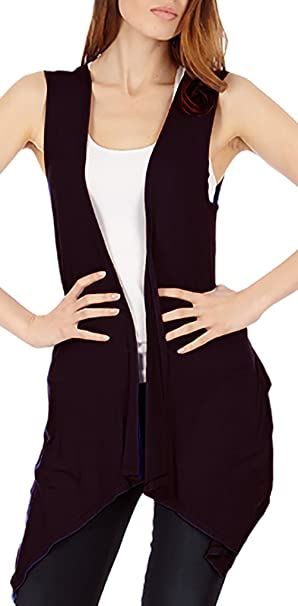 e2a646d9d90f41 Sleeveless Light Weight Flyaway Cardigan Vest with Elastic Detail at ...