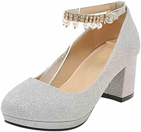 9ddeb8737cae JOJONUNU Women Block Heel Party Pumps Shoes