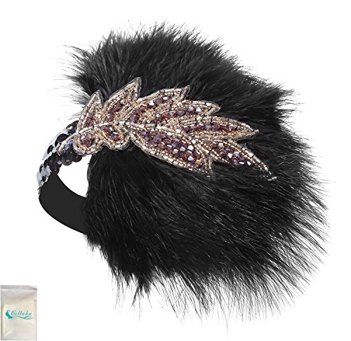 Gellw (Black And Gold Flapper Costumes Headband)