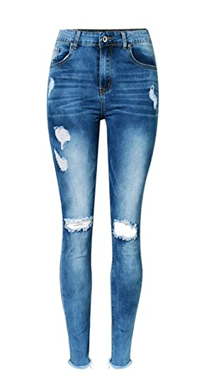 iRachel Damen Destroyed Jeanshose Skinny Röhrenjeans