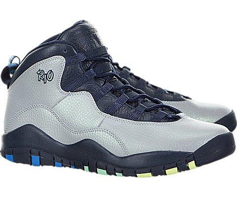 Jordan Boy's 10 Retro Big Kids Style, Wolf Grey/Photo Blue/Obsidian/Green Glow, 4
