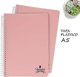 Quijote Paper World Pack 2 Cuadernos Espiral, Con Doble Raya Horizontal, Tapa Plástico, 80 Hojas, 90 gramos, A5 para Uso Escolar, Oficina, Trabajo, etc. Rosa Palo: Amazon.es: Oficina y papelería