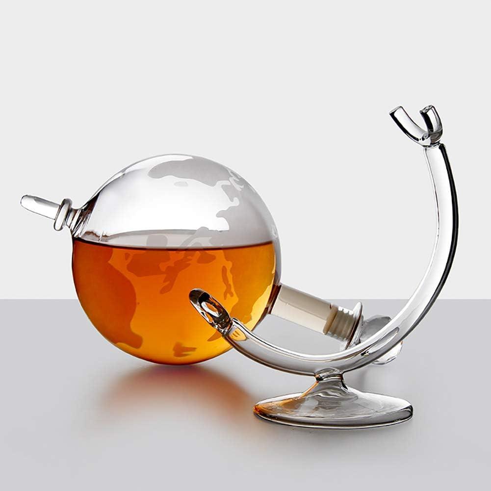 LIGHT Globe en Verre /à Whisky Carafe avec Bouchon et Cradle Brandy et Liqueur de Flux coupelles /à Bords du Monde Vintage Design Carafe /à Whisky Id/éal pour Rum