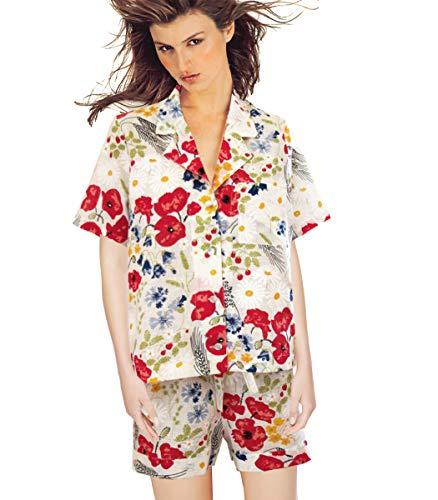 b54bc3afd7 Armani International Ma Bijou Linen Shirt with Shorts Small Off White-Floral