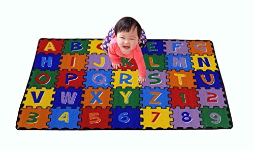 Large Classroom Kids Rug Alphabet Puzzle Area Rug 5ft x 8ft New Design #9