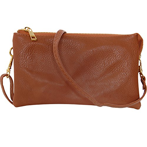 Humble Chic Vegan Leather Small Crossbody Bag or Wristlet Clutch Purse, Includes Adjustable Shoulder and Wrist Straps, Saddle Brown, Tan
