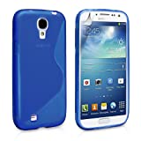 Cable and Case Slim Rugged Shock Absorbent Soft Jelly Shell Case for Samsung Galaxy S4 - Blue