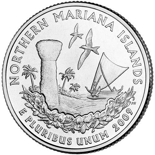 - 2009 P & D Satin Finish Northern Mariana Islands Territory Quarter Choice Uncirculated US Mint 2 Coin Set