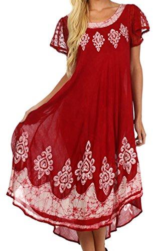 Sakkas B009 Batik Hindi Cap Sleeve Caftan Dress/Cover Up - Red/White - One Size