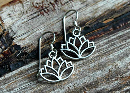 Lotus Flower Dangle Earrings with Hypoallergenic Sterling Silver Earwires ()