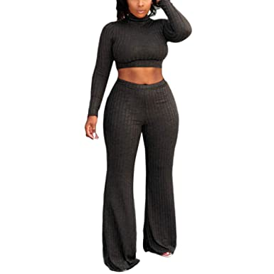 190277ada9 Amazon.com: Topbeu Women 2 Piece Outfits Solid Color Round Neck Long Sleeve  Crop Top+Wide Leg Pants Set: Clothing