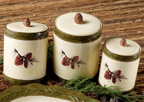 Pinecone Stoneware Canister Set - 3 (Pinecone Canister Set)