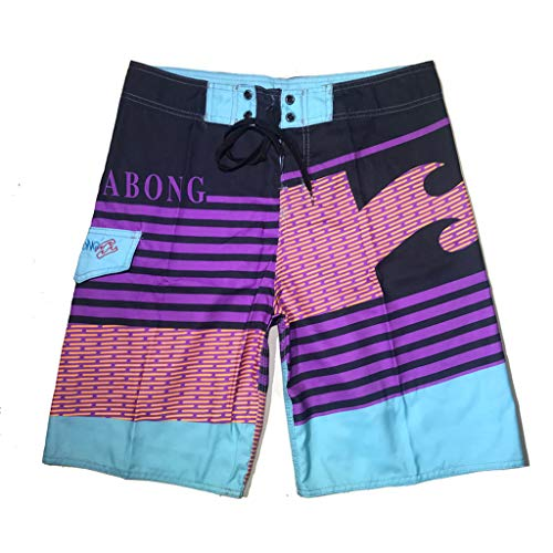(LEXUPA Men Summer Fashion Hawaiian Print Short Pants Sports Suffer Beach Quick Dry)
