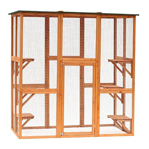 Large Enclosure (Pawhut Large Wooden Outdoor Cat Enclosure Cage with 6 Platforms)
