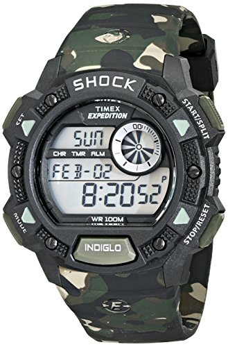 Timex Men's T49976 Expedition Base Shock Black/Camo Resin Watch -