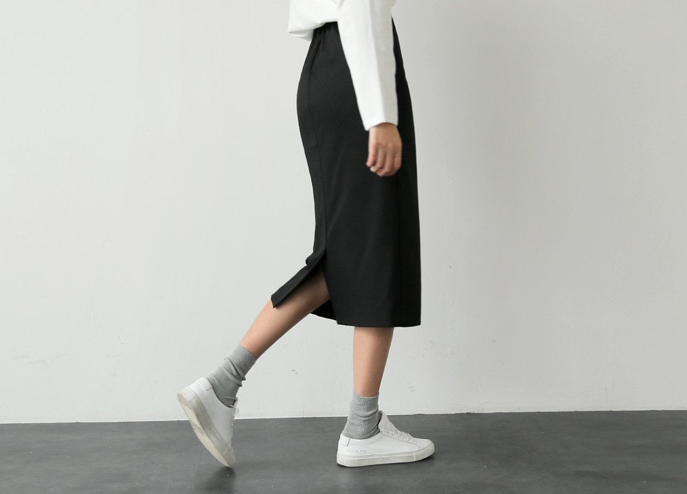 UP upscale elegance autumn and winter half-length skirt elastic band after Midi-breasted skirt for women girl