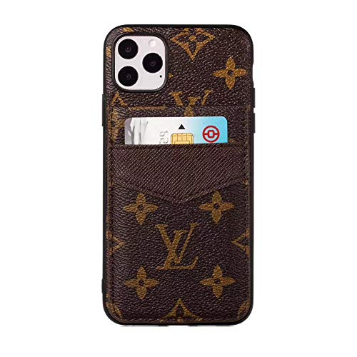Fit for iPhone 11 PRO MAX Cases, New Classic Elegant Luxury Monogram Pattern Designer Style Full Protection Cover Case with Cash Card Holder Compatible with Apple iPhone 11 Pro Max 6.5 Inch (Brown)