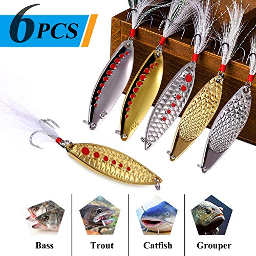 TOPFORT 6pcs Fishing Lures,Fishing Spoons, Trout Lures, Spinner Baits, Bass Lures, Spinning Lures Fishing Spoon with Box