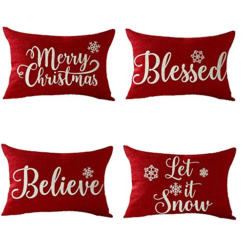 FELENIW Set of 4, Happy Winter Snowflake Blessed Believe Let It Snow Merry Christmas Cotton Linen Decorative Throw Pillow Cover Cushion Case Lumbar 12x20 inches (Sale Holiday On Decor)