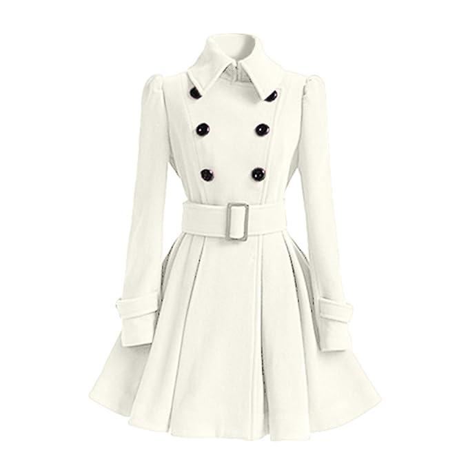Qitun Abrigos Parka Chaquetas Ropa de Mujer Elegantes Abrigo de Lana de imitación Sudaderas Cinturón Botones Rompevientos: Amazon.es: Ropa y accesorios