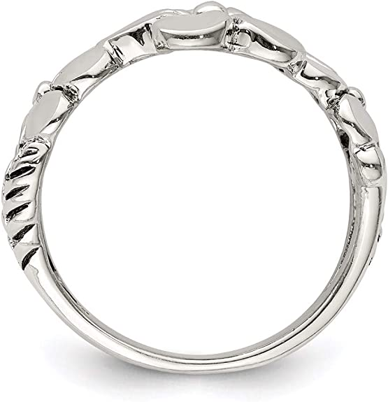 \u0412ew drop on leaf Size 7.5 Waves Ring Floral Sterling Silver Ring