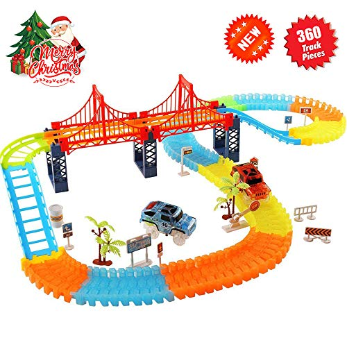 (Alture Track Car Toys, 360 PCS Track Cars Set 2 Race Cars 1 Hanging Bridge Racing Car Toy Set Other Traffic Accessories, Lights up Track Car Toys for Kids Children Hand-Eye Coordination)