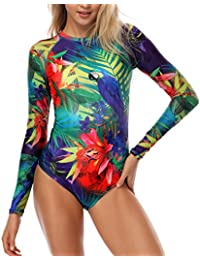 Womens Long Sleeve Rash Guard UV UPF 50+ Sun Protection Printed Zipper Surfing One Piece Swimsuit Bathing Suit