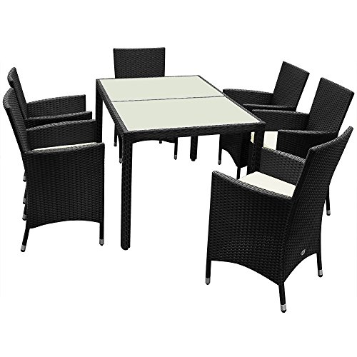 Deuba Outdoor Dining Table Chairs Set Poly Rattan Garden Patio Furniture Polyrattan Conservatory Wicker 6 Seater Frosted Glass Tabletop Rectangular Brown Black Beige