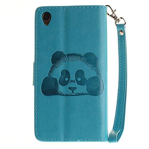 SRY-Funda simple Estuche Sony Z3, color sólido 3D Panda lindo grabado en relieve cubierta de la caja de cuero con ranuras para tarjetas Lanyand para Sony Z3 Conveniente y practico ( Color : 7 , Size : 2