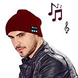 MOCREOFashion Bluetooth Knit Hat with Stereo Headphones and Microphone Warm Chunky Soft Beanie Hands Free Talking for iPhone Samsung Android And iPad Men and Women Christmas Gift(Red)