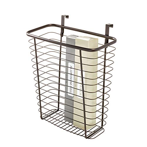 iDesign Axis Steel Over The Cabinet Storage Organizer Waste Basket, for Aluminum Foil, Sandwich, Cleaning, Garbage Bags, Bath Supplies, - Side Bin Waste Mounted