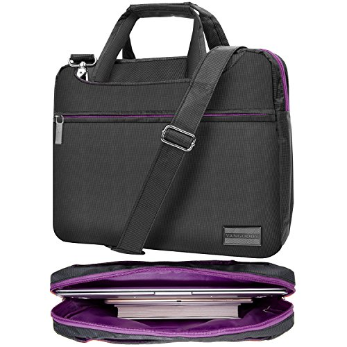 "Price comparison product image NineO 15 Inch 3-in-1 Water Resistant Nylon Messenger Shoulder Bag Briefcase (Gray / Purple) for HP Elitebook / Envy / Mobile Thin Client / ProBook / Spectre x360 / Zbook Series 14"" 15.6"" Laptop"