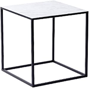 HTLLT Storage Table Coffee Table Quadrilateral Marble Texture Metal Coffee Table Househ Meeting Room Hotel Sofa Table Can Be Placed Vase,B,404042Cm