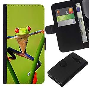 KLONGSHOP // Tirón de la caja Cartera de cuero con ranuras para tarjetas - Gimnasio Aerobics Frog Forest Green Amazon - Samsung Galaxy Core Prime //