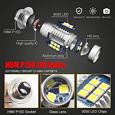 Boodlied 9-30V H6M LED Headlight Bulbs 1600Lumens Super Bright 3030 21SMD Chips P15D Motorcycle LED Fog Headlights or Daytime Running Lights with High Low Beam.White.2-Pack.: Automotive