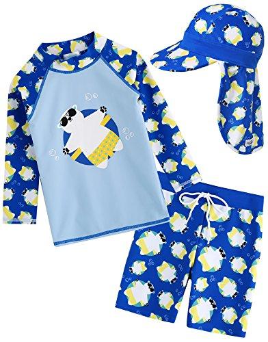 Vaenait baby Kids Boys Rashguard Swimsuit Long Shirt and Shorts Set with Cap Tanning Bear Blue S