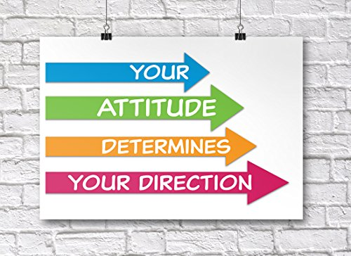 Jsc382 Your Attitude Determines Your Direction Classroom Poster   18 Inches By 12 Inches   Premium 100Lb Gloss Poster Paper
