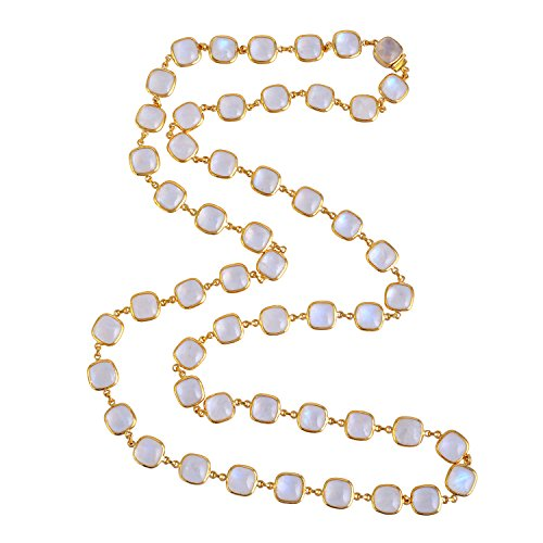 (Rainbow Moonstone Opera Necklace with 18K Yellow Gold)
