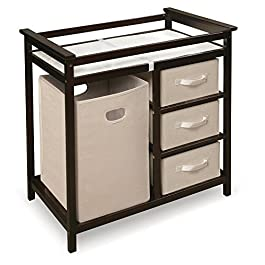 Badger Basket Modern Changing Table with 3 Baskets and Hamper